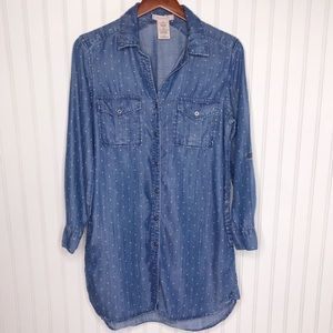 Philosophy Chambray Dress Button Down Polka Dot Sm